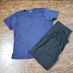 Made 2 Love Navy Blue Scrub Top Large Black Pants